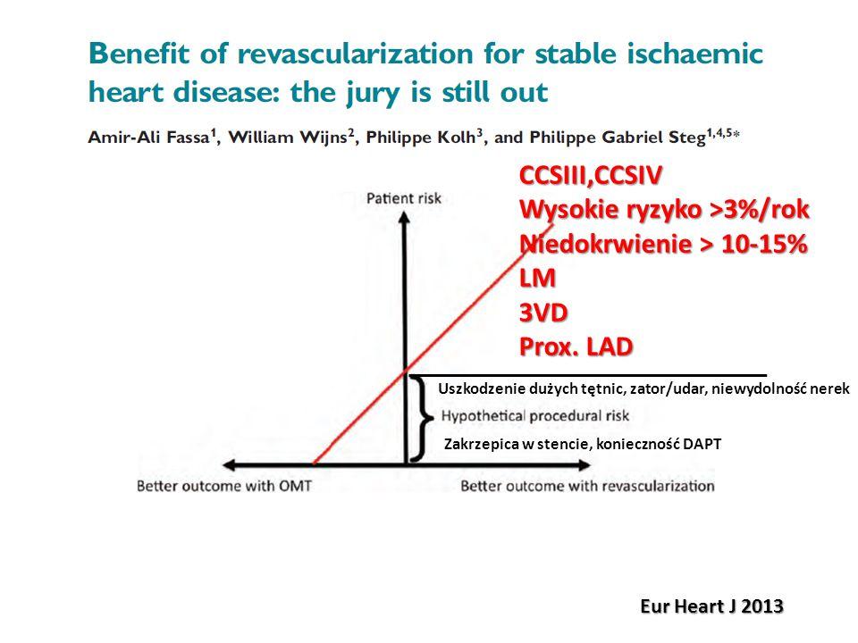 CCSIII,CCSIV Wysokie ryzyko >3%/rok Niedokrwienie > 10-15% LM3VD Prox. LAD Eur Heart J 2013 Zakrzepica w stencie, konieczność DAPT Uszkodzenie dużych