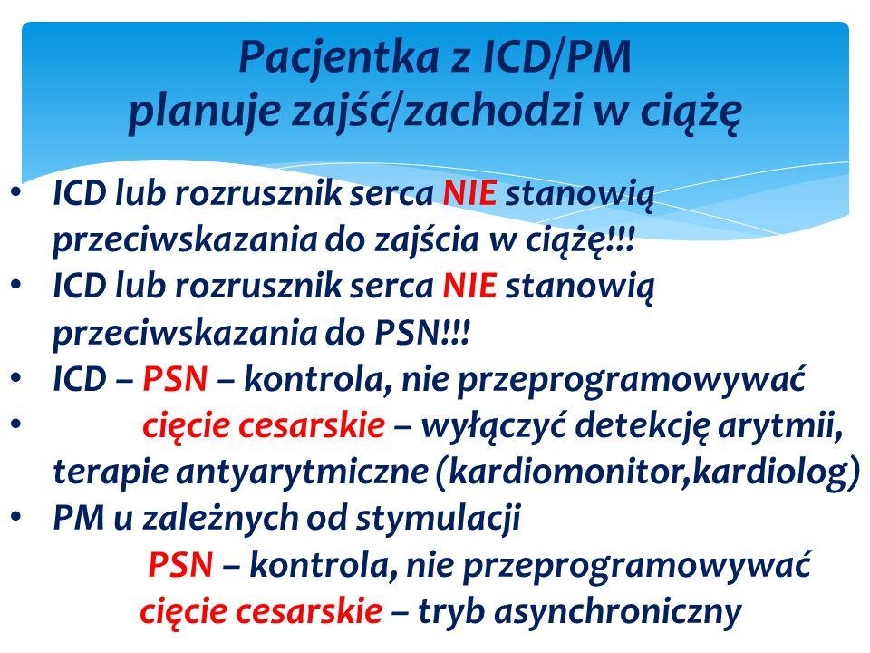 Pacjentka z ICD/PM planuje zajść/zachodzi w ciążę ICD lub rozrusznik serca NIE stanowią przeciwskazania do zajścia w ciążę!!.