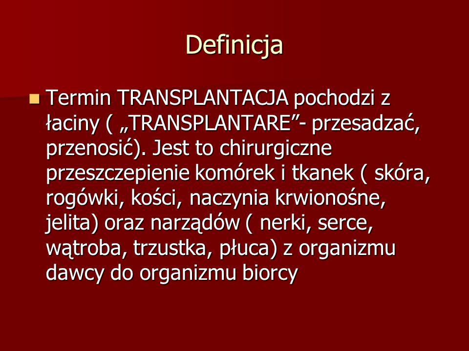 """Definicja Termin TRANSPLANTACJA pochodzi z łaciny ( """"TRANSPLANTARE""""- przesadzać, przenosić). Jest to chirurgiczne przeszczepienie komórek i tkanek ( s"""
