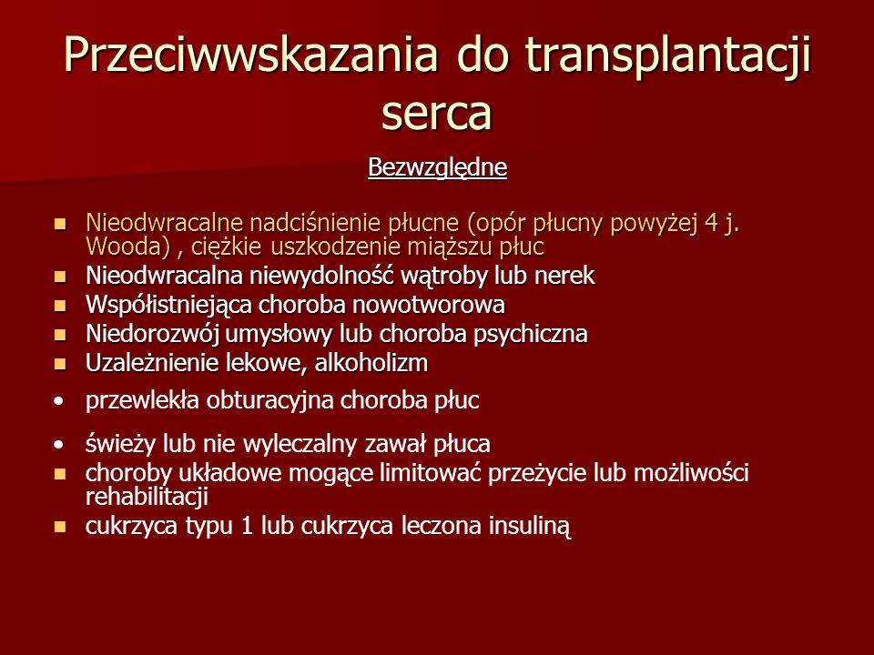 Przeciwwskazania do transplantacji serca Bezwzględne Nieodwracalne nadciśnienie płucne (opór płucny powyżej 4 j. Wooda), ciężkie uszkodzenie miąższu p