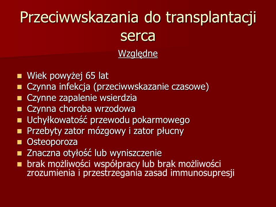 Przeciwwskazania do transplantacji serca Względne Wiek powyżej 65 lat Wiek powyżej 65 lat Czynna infekcja (przeciwwskazanie czasowe) Czynna infekcja (