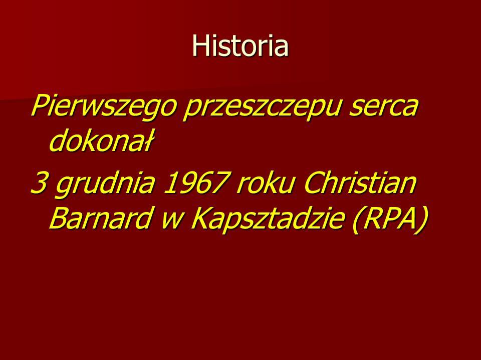 Historia Pierwszego przeszczepu serca dokonał 3 grudnia 1967 roku Christian Barnard w Kapsztadzie (RPA)