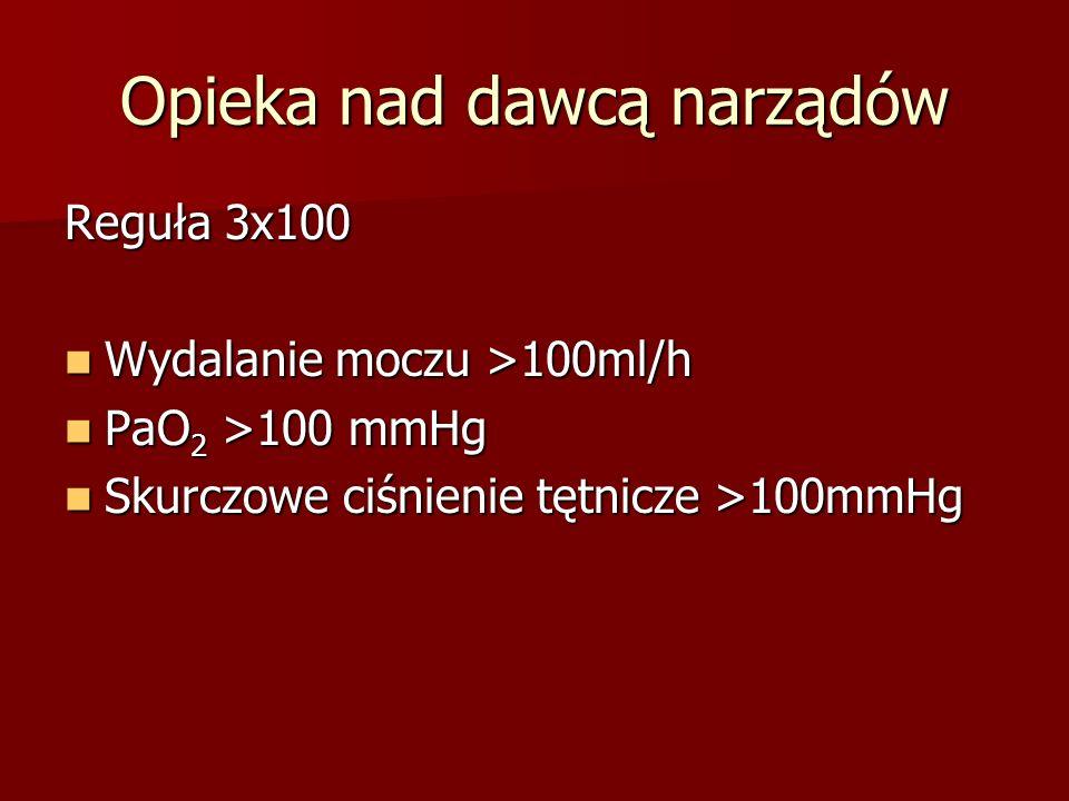 Opieka nad dawcą narządów Reguła 3x100 Wydalanie moczu >100ml/h Wydalanie moczu >100ml/h PaO 2 >100 mmHg PaO 2 >100 mmHg Skurczowe ciśnienie tętnicze