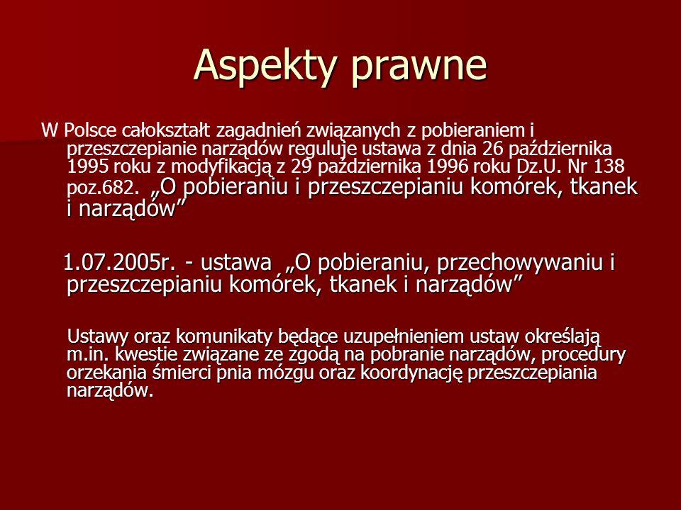 """Aspekty prawne """"O pobieraniu i przeszczepianiu komórek, tkanek i narządów"""" W Polsce całokształt zagadnień związanych z pobieraniem i przeszczepianie n"""