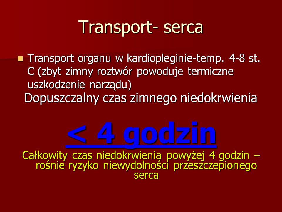 Transport- serca Transport organu w kardiopleginie-temp. 4-8 st. C (zbyt zimny roztwór powoduje termiczne uszkodzenie narządu) Transport organu w kard