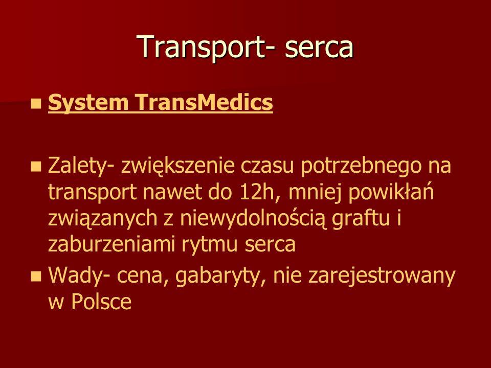 Transport- serca System TransMedics Zalety- zwiększenie czasu potrzebnego na transport nawet do 12h, mniej powikłań związanych z niewydolnością graftu