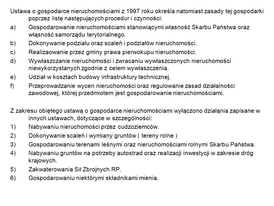 Ustawa o gospodarce nieruchomościami z 1997 roku określa natomiast zasady tej gospodarki poprzez listę następujących procedur i czynności: a)Gospodaro
