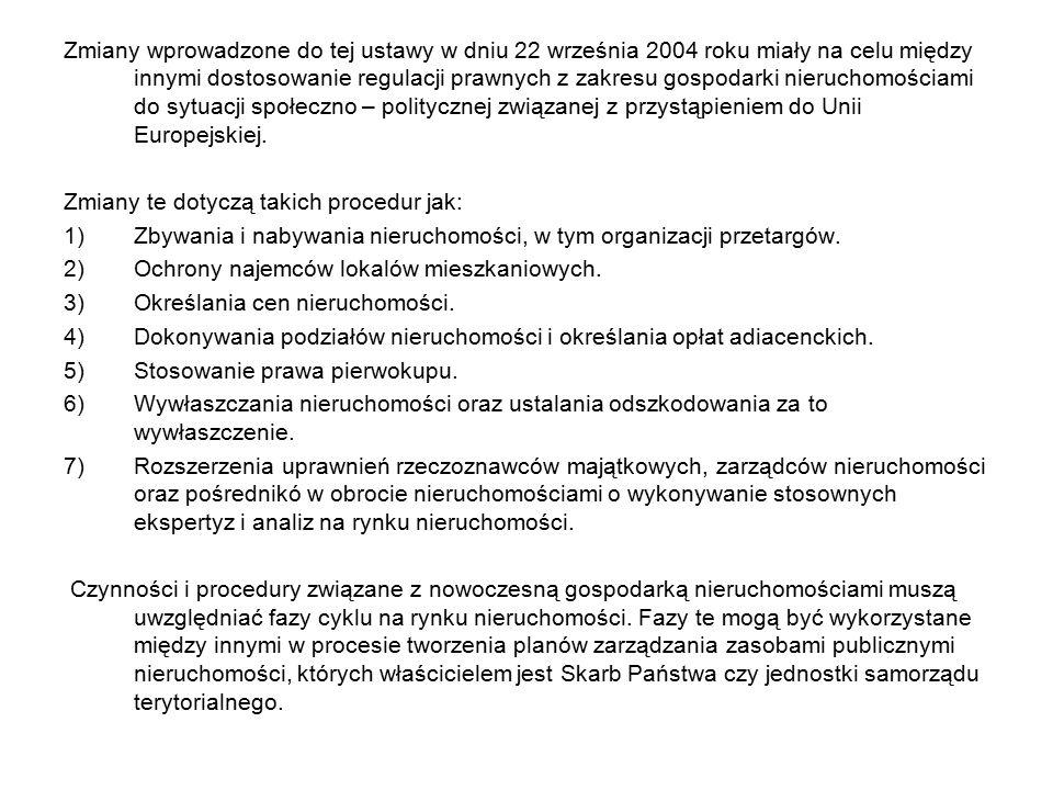 Zmiany wprowadzone do tej ustawy w dniu 22 września 2004 roku miały na celu między innymi dostosowanie regulacji prawnych z zakresu gospodarki nieruch