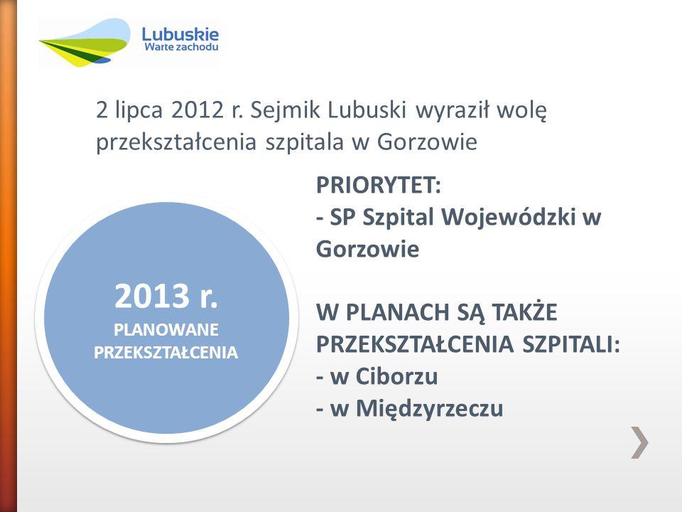 2 lipca 2012 r. Sejmik Lubuski wyraził wolę przekształcenia szpitala w Gorzowie 2013 r. PLANOWANE PRZEKSZTAŁCENIA 2013 r. PLANOWANE PRZEKSZTAŁCENIA PR