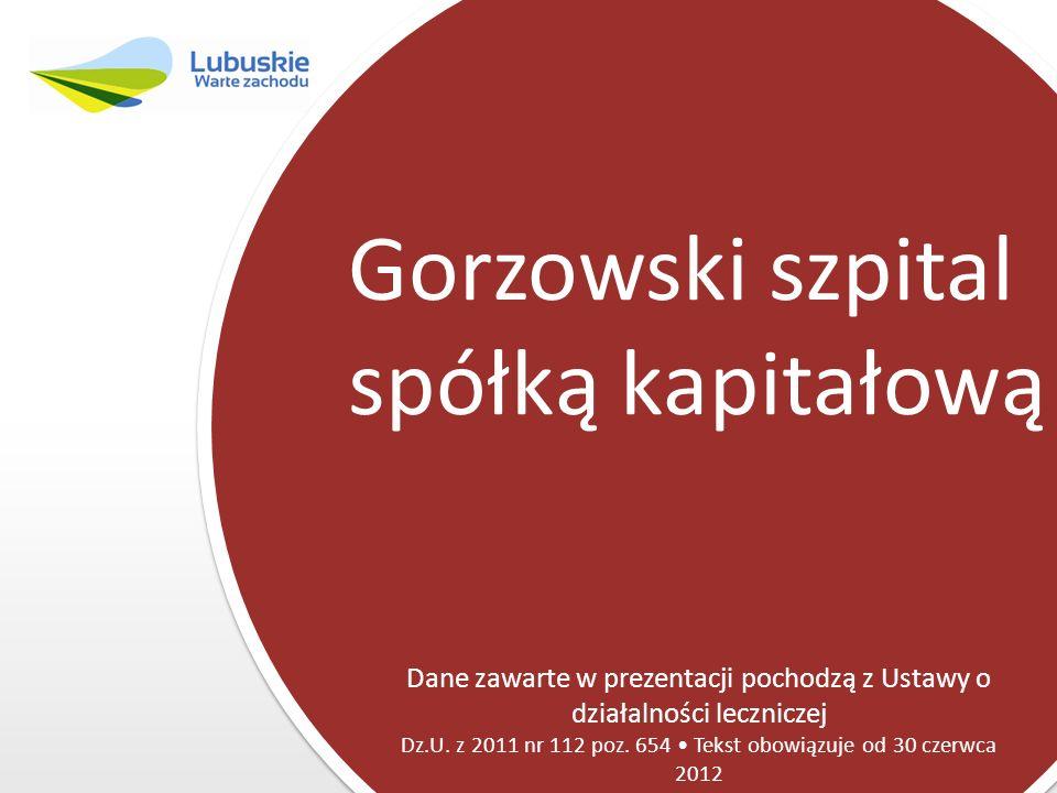 Gorzowski szpital spółką kapitałową Dane zawarte w prezentacji pochodzą z Ustawy o działalności leczniczej Dz.U. z 2011 nr 112 poz. 654 Tekst obowiązu