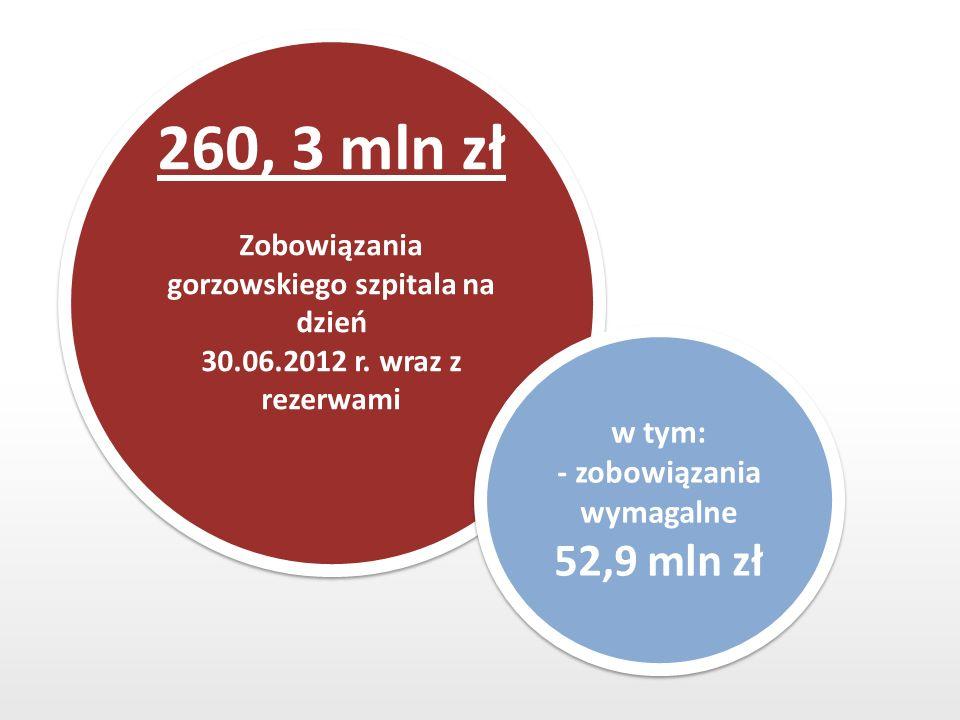 260, 3 mln zł Zobowiązania gorzowskiego szpitala na dzień 30.06.2012 r.