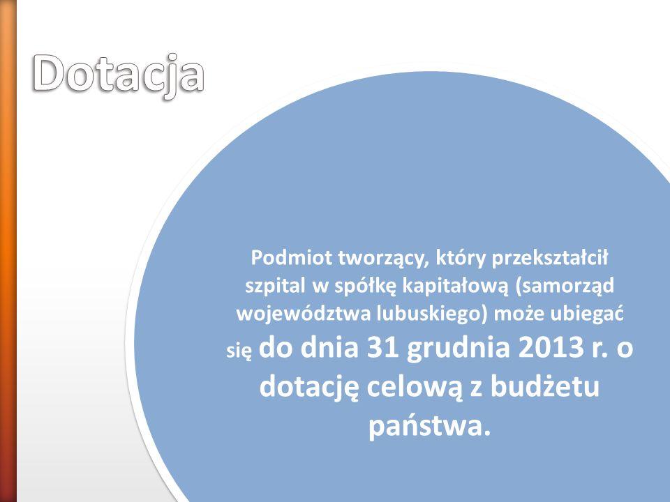 Suma zobowiązań - Inwestycje krótkoterminowe ---------------------------------------------------------------- Suma przychodów Podmiot tworzący, który przekształcił szpital w spółkę kapitałową (samorząd województwa lubuskiego) może ubiegać się do dnia 31 grudnia 2013 r.
