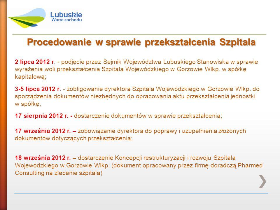 Procedowanie w sprawie przekształcenia Szpitala 2 lipca 2012 r. - podjęcie przez Sejmik Województwa Lubuskiego Stanowiska w sprawie wyrażenia woli prz