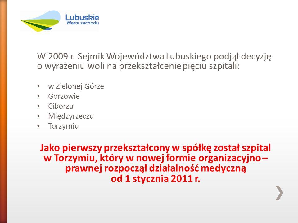 W 2009 r. Sejmik Województwa Lubuskiego podjął decyzję o wyrażeniu woli na przekształcenie pięciu szpitali: w Zielonej Górze Gorzowie Ciborzu Międzyrz