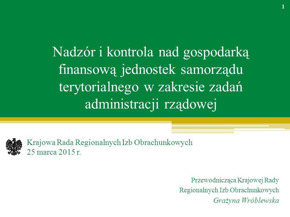 Nadzór i kontrola nad gospodarką finansową jednostek samorządu terytorialnego w zakresie zadań administracji rządowej Krajowa Rada Regionalnych Izb Obrachunkowych 25 marca 2015 r.