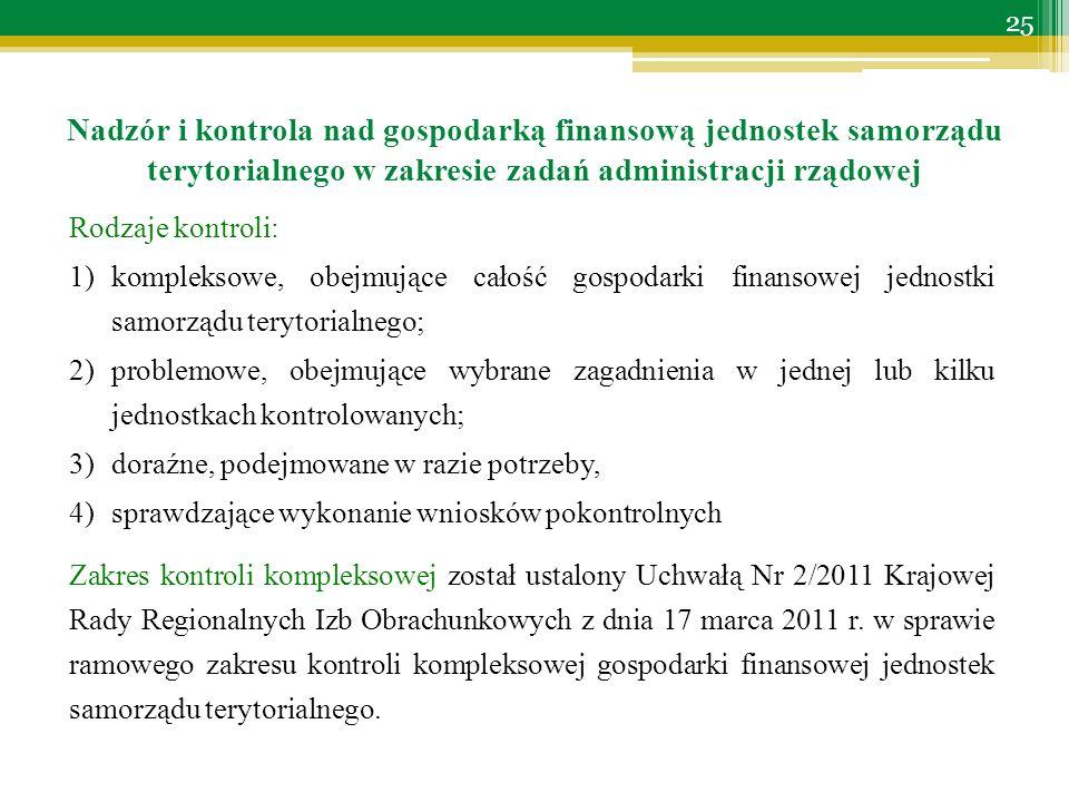 Rodzaje kontroli: 1)kompleksowe, obejmujące całość gospodarki finansowej jednostki samorządu terytorialnego; 2)problemowe, obejmujące wybrane zagadnienia w jednej lub kilku jednostkach kontrolowanych; 3)doraźne, podejmowane w razie potrzeby, 4)sprawdzające wykonanie wniosków pokontrolnych Zakres kontroli kompleksowej został ustalony Uchwałą Nr 2/2011 Krajowej Rady Regionalnych Izb Obrachunkowych z dnia 17 marca 2011 r.