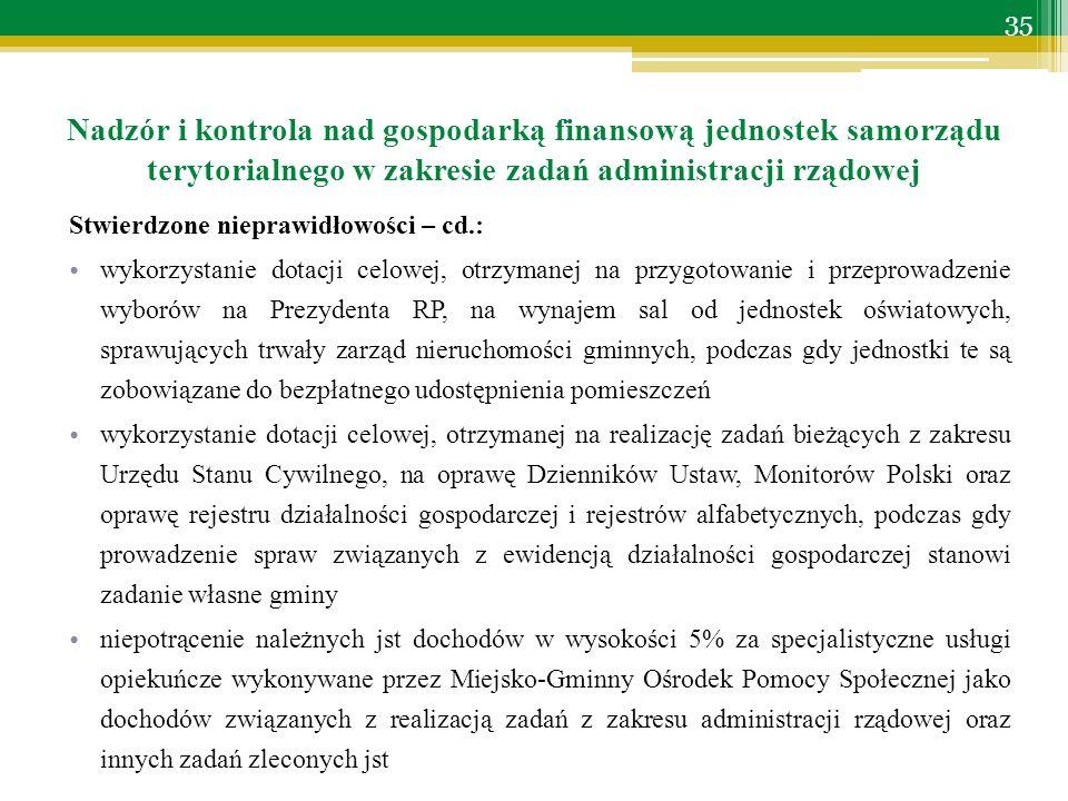 Stwierdzone nieprawidłowości – cd.: wykorzystanie dotacji celowej, otrzymanej na przygotowanie i przeprowadzenie wyborów na Prezydenta RP, na wynajem sal od jednostek oświatowych, sprawujących trwały zarząd nieruchomości gminnych, podczas gdy jednostki te są zobowiązane do bezpłatnego udostępnienia pomieszczeń wykorzystanie dotacji celowej, otrzymanej na realizację zadań bieżących z zakresu Urzędu Stanu Cywilnego, na oprawę Dzienników Ustaw, Monitorów Polski oraz oprawę rejestru działalności gospodarczej i rejestrów alfabetycznych, podczas gdy prowadzenie spraw związanych z ewidencją działalności gospodarczej stanowi zadanie własne gminy niepotrącenie należnych jst dochodów w wysokości 5% za specjalistyczne usługi opiekuńcze wykonywane przez Miejsko-Gminny Ośrodek Pomocy Społecznej jako dochodów związanych z realizacją zadań z zakresu administracji rządowej oraz innych zadań zleconych jst Nadzór i kontrola nad gospodarką finansową jednostek samorządu terytorialnego w zakresie zadań administracji rządowej 35