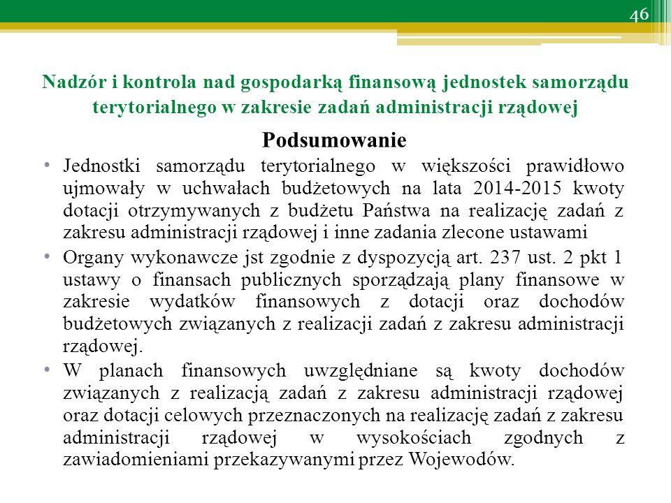 Podsumowanie Jednostki samorządu terytorialnego w większości prawidłowo ujmowały w uchwałach budżetowych na lata 2014-2015 kwoty dotacji otrzymywanych z budżetu Państwa na realizację zadań z zakresu administracji rządowej i inne zadania zlecone ustawami Organy wykonawcze jst zgodnie z dyspozycją art.