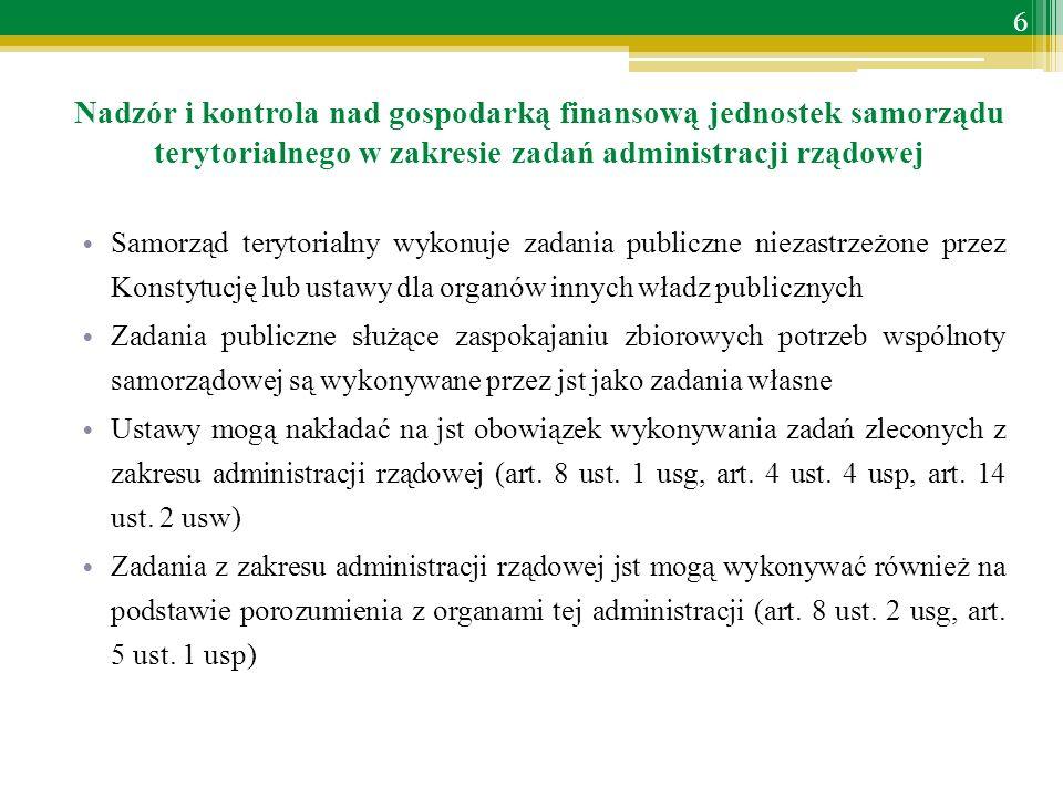 Nadzór i kontrola nad gospodarką finansową jednostek samorządu terytorialnego w zakresie zadań administracji rządowej Samorząd terytorialny wykonuje zadania publiczne niezastrzeżone przez Konstytucję lub ustawy dla organów innych władz publicznych Zadania publiczne służące zaspokajaniu zbiorowych potrzeb wspólnoty samorządowej są wykonywane przez jst jako zadania własne Ustawy mogą nakładać na jst obowiązek wykonywania zadań zleconych z zakresu administracji rządowej (art.