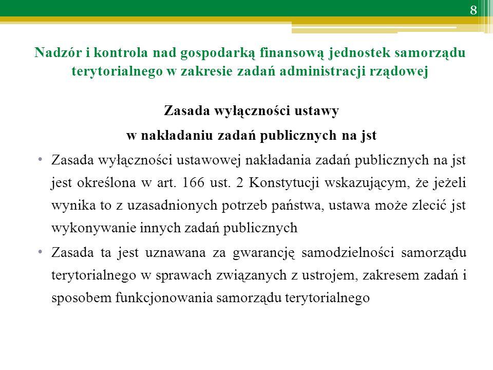 Zasada wyłączności ustawy w nakładaniu zadań publicznych na jst Zasada wyłączności ustawowej nakładania zadań publicznych na jst jest określona w art.