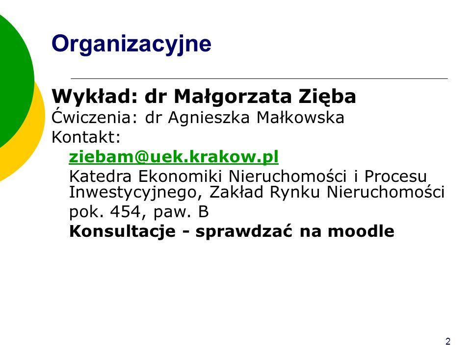 2 Organizacyjne Wykład: dr Małgorzata Zięba Ćwiczenia: dr Agnieszka Małkowska Kontakt: ziebam@uek.krakow.pl Katedra Ekonomiki Nieruchomości i Procesu