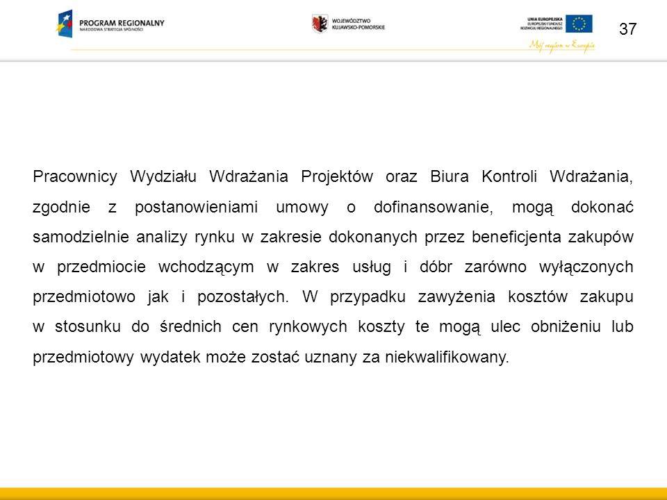 37 Pracownicy Wydziału Wdrażania Projektów oraz Biura Kontroli Wdrażania, zgodnie z postanowieniami umowy o dofinansowanie, mogą dokonać samodzielnie