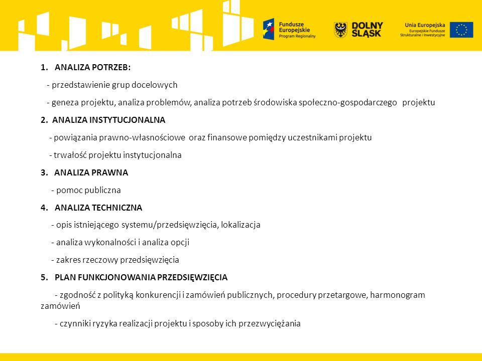 1.ANALIZA POTRZEB: - przedstawienie grup docelowych - geneza projektu, analiza problemów, analiza potrzeb środowiska społeczno-gospodarczego projektu 2.