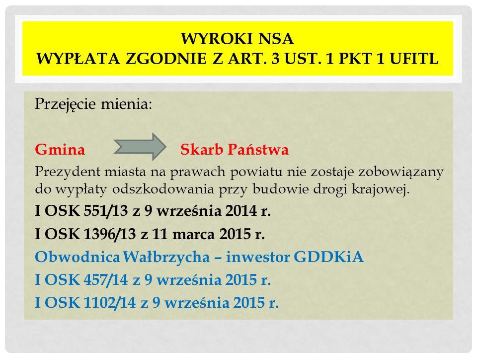 WYROKI NSA WYPŁATA ZGODNIE Z ART. 3 UST. 1 PKT 1 UFITL Przejęcie mienia: Gmina Skarb Państwa Prezydent miasta na prawach powiatu nie zostaje zobowiąza