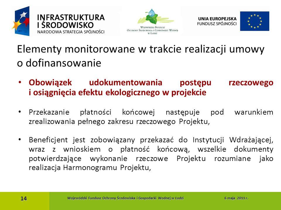 Obowiązek udokumentowania postępu rzeczowego i osiągnięcia efektu ekologicznego w projekcie Przekazanie płatności końcowej następuje pod warunkiem zre