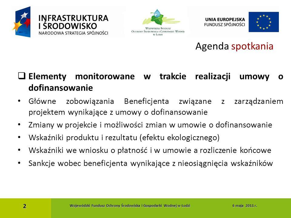 Agenda spotkania  Elementy monitorowane w trakcie realizacji umowy o dofinansowanie Główne zobowiązania Beneficjenta związane z zarządzaniem projekte