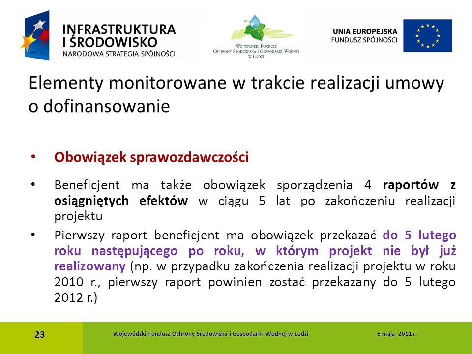 Obowiązek sprawozdawczości Beneficjent ma także obowiązek sporządzenia 4 raportów z osiągniętych efektów w ciągu 5 lat po zakończeniu realizacji proje