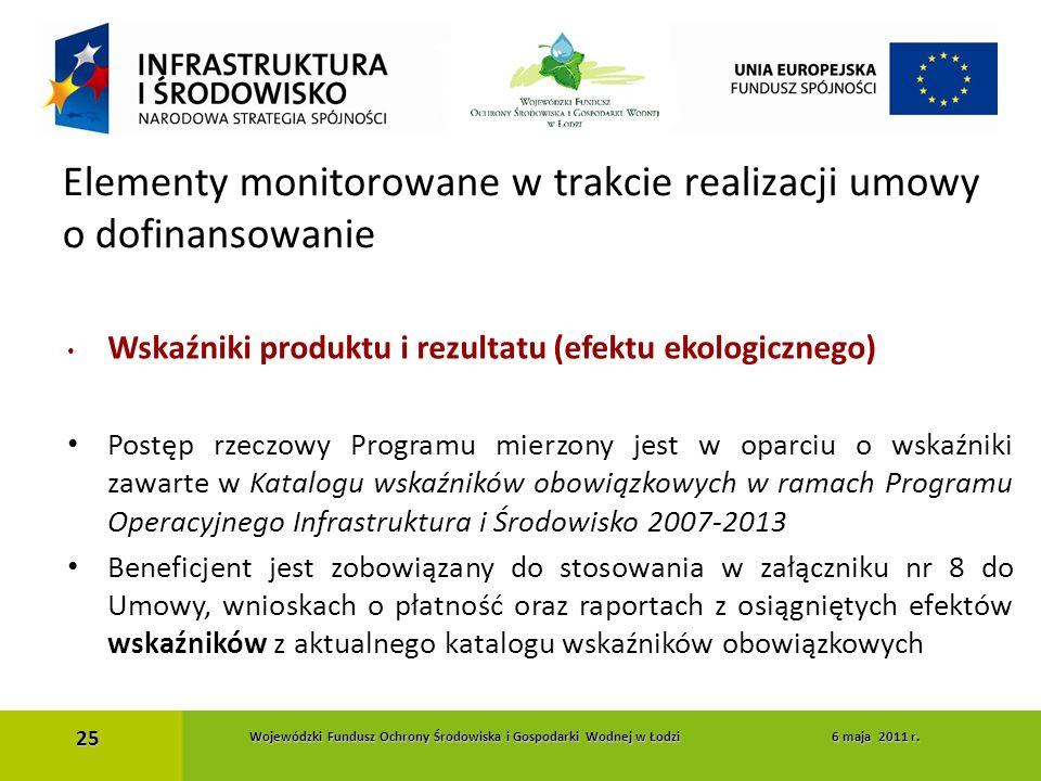 Wskaźniki produktu i rezultatu (efektu ekologicznego) Postęp rzeczowy Programu mierzony jest w oparciu o wskaźniki zawarte w Katalogu wskaźników obowi