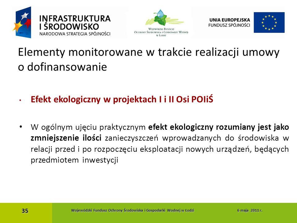 Efekt ekologiczny w projektach I i II Osi POIiŚ W ogólnym ujęciu praktycznym efekt ekologiczny rozumiany jest jako zmniejszenie ilości zanieczyszczeń