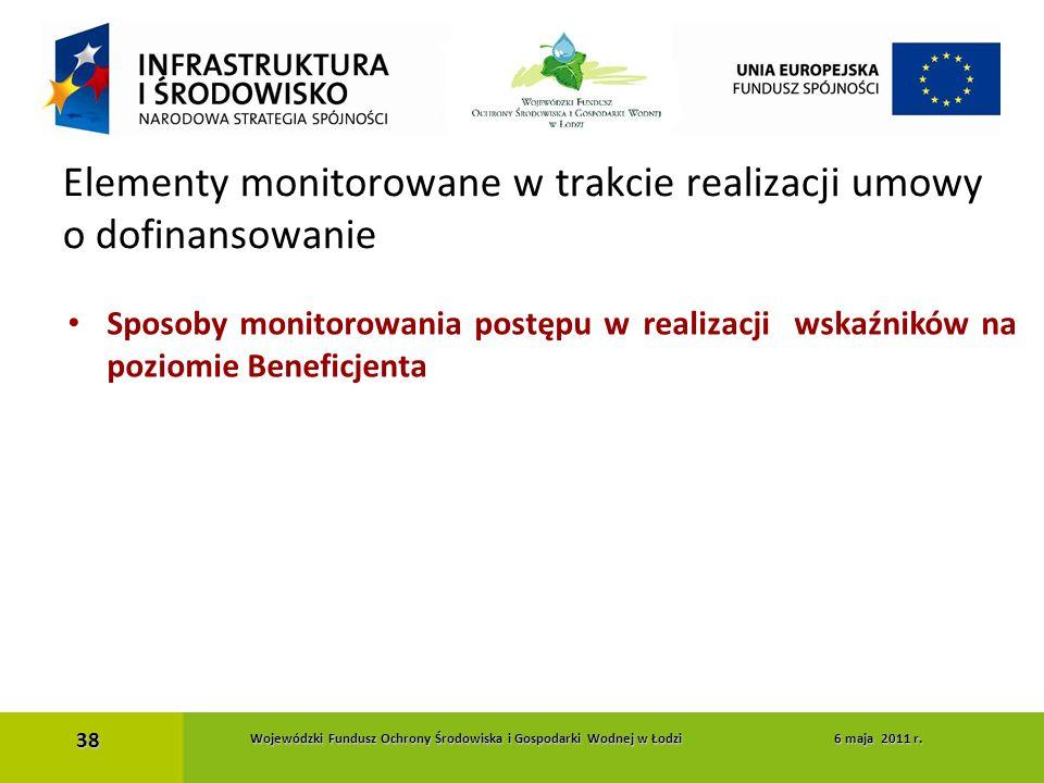 Sposoby monitorowania postępu w realizacji wskaźników na poziomie Beneficjenta Elementy monitorowane w trakcie realizacji umowy o dofinansowanie 38 Wo