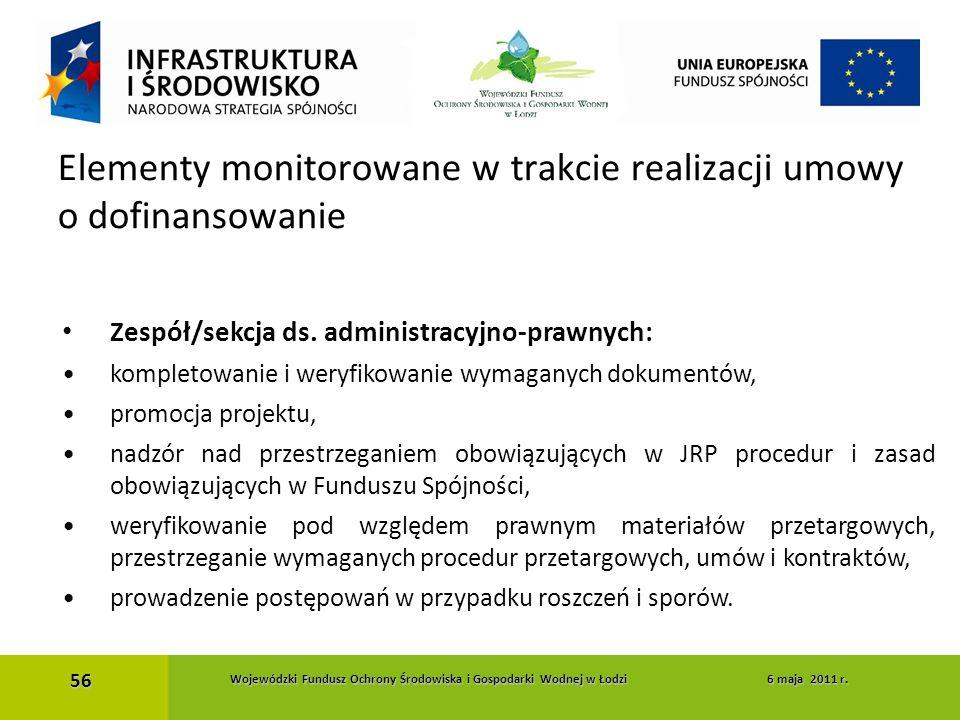 Zespół/sekcja ds. administracyjno-prawnych: kompletowanie i weryfikowanie wymaganych dokumentów, promocja projektu, nadzór nad przestrzeganiem obowiąz