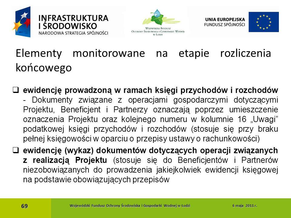  ewidencję prowadzoną w ramach księgi przychodów i rozchodów - Dokumenty związane z operacjami gospodarczymi dotyczącymi Projektu, Beneficjent i Part