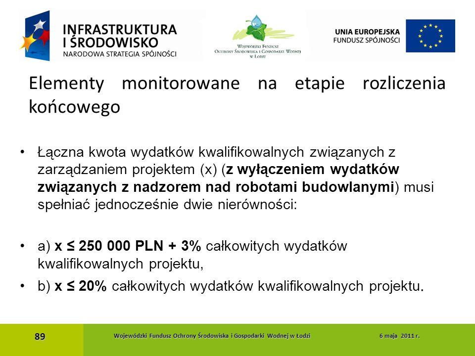 Łączna kwota wydatków kwalifikowalnych związanych z zarządzaniem projektem (x) (z wyłączeniem wydatków związanych z nadzorem nad robotami budowlanymi)