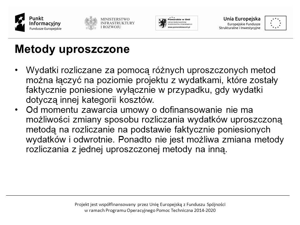 Projekt jest współfinansowany przez Unię Europejską z Funduszu Spójności w ramach Programu Operacyjnego Pomoc Techniczna 2014-2020 Metody uproszczone