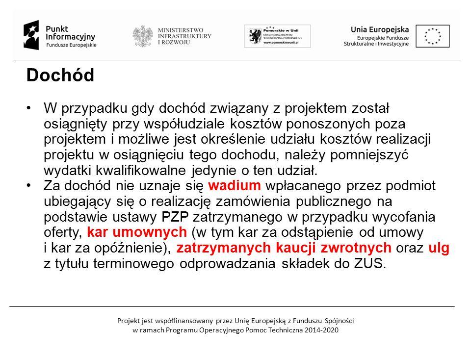 Projekt jest współfinansowany przez Unię Europejską z Funduszu Spójności w ramach Programu Operacyjnego Pomoc Techniczna 2014-2020 Dochód W przypadku