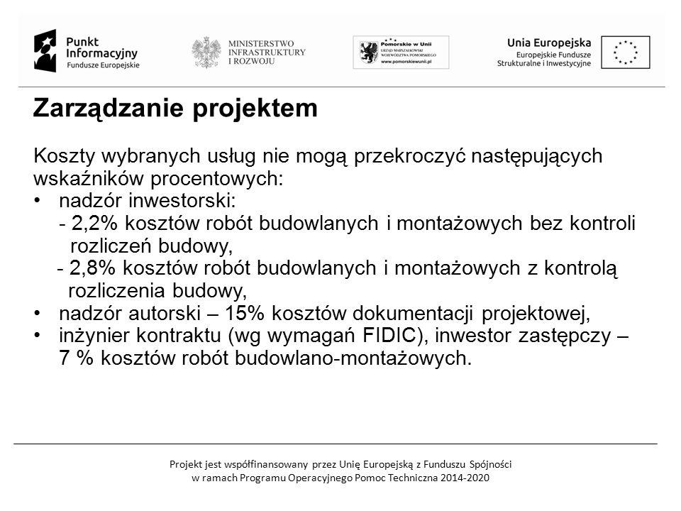 Projekt jest współfinansowany przez Unię Europejską z Funduszu Spójności w ramach Programu Operacyjnego Pomoc Techniczna 2014-2020 Zarządzanie projekt