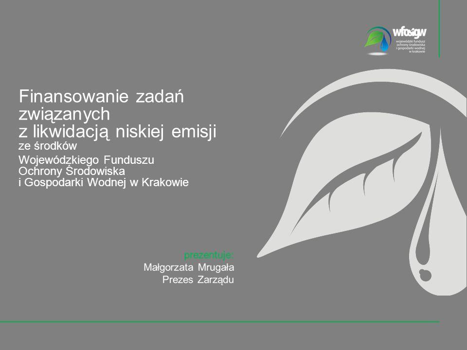 2 z 30 Wojewódzki Fundusz Ochrony Środowiska i Gospodarki Wodnej w Krakowie udziela dofinansowania na zadania z zakresu ochrony środowiska i gospodarki wodnej określone rodzajowo w art.