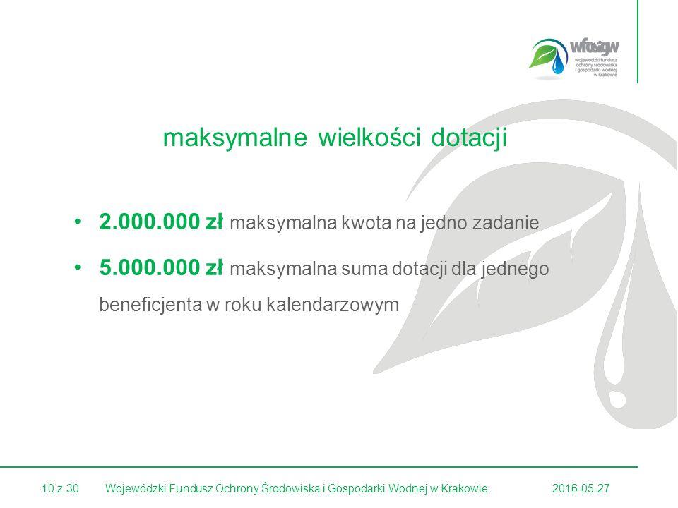 10 z 302016-05-27Wojewódzki Fundusz Ochrony Środowiska i Gospodarki Wodnej w Krakowie maksymalne wielkości dotacji 2.000.000 zł maksymalna kwota na jedno zadanie 5.000.000 zł maksymalna suma dotacji dla jednego beneficjenta w roku kalendarzowym