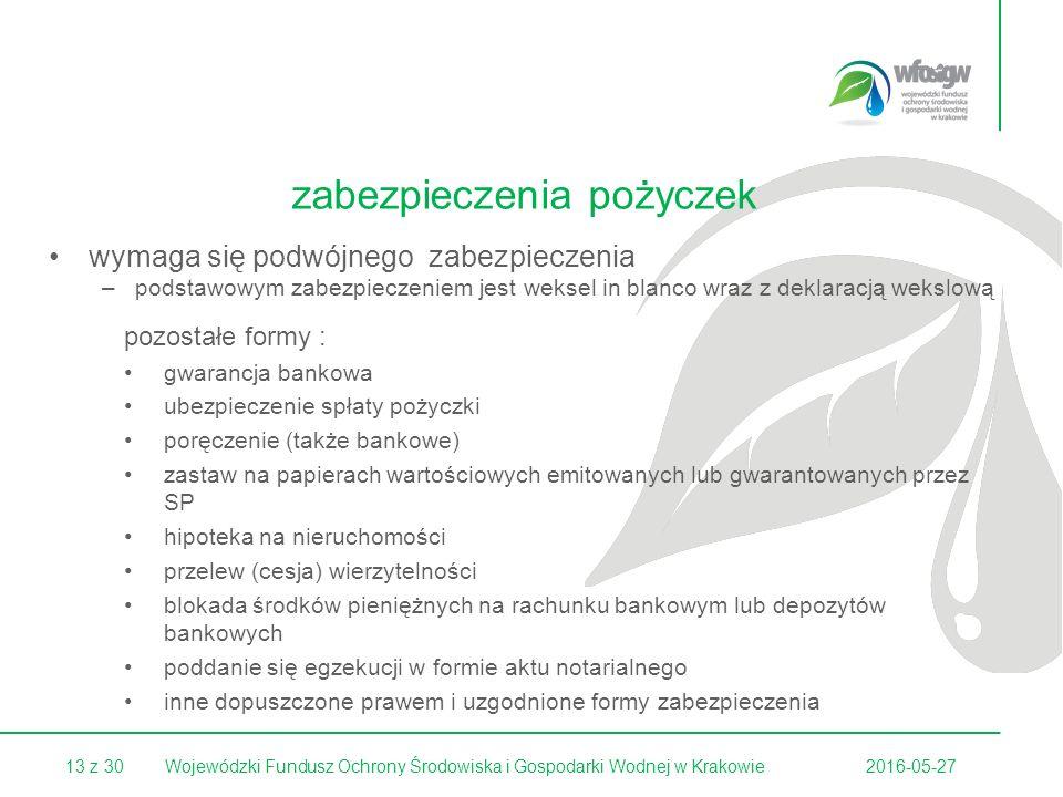 13 z 302016-05-27Wojewódzki Fundusz Ochrony Środowiska i Gospodarki Wodnej w Krakowie wymaga się podwójnego zabezpieczenia –podstawowym zabezpieczeniem jest weksel in blanco wraz z deklaracją wekslową pozostałe formy : gwarancja bankowa ubezpieczenie spłaty pożyczki poręczenie (także bankowe) zastaw na papierach wartościowych emitowanych lub gwarantowanych przez SP hipoteka na nieruchomości przelew (cesja) wierzytelności blokada środków pieniężnych na rachunku bankowym lub depozytów bankowych poddanie się egzekucji w formie aktu notarialnego inne dopuszczone prawem i uzgodnione formy zabezpieczenia zabezpieczenia pożyczek