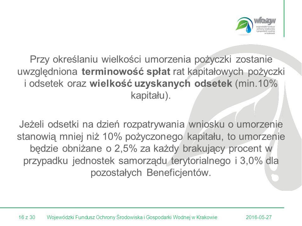 16 z 30 Przy określaniu wielkości umorzenia pożyczki zostanie uwzględniona terminowość spłat rat kapitałowych pożyczki i odsetek oraz wielkość uzyskanych odsetek (min.10% kapitału).