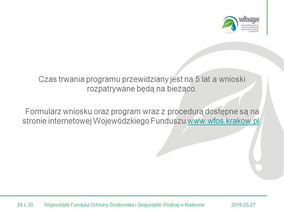 24 z 30 Czas trwania programu przewidziany jest na 5 lat a wnioski rozpatrywane będą na bieżąco.