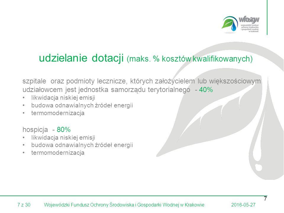 7 z 302016-05-27Wojewódzki Fundusz Ochrony Środowiska i Gospodarki Wodnej w Krakowie 7 szpitale oraz podmioty lecznicze, których założycielem lub większościowym udziałowcem jest jednostka samorządu terytorialnego - 40% likwidacja niskiej emisji budowa odnawialnych źródeł energii termomodernizacja hospicja - 80% likwidacja niskiej emisji budowa odnawialnych źródeł energii termomodernizacja udzielanie dotacji (maks.