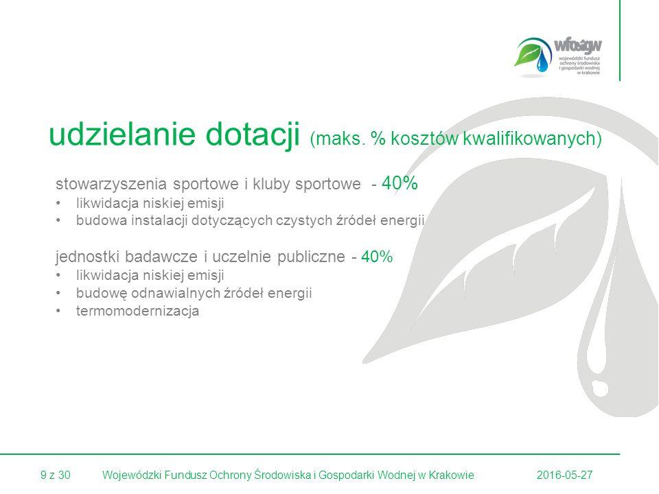30 z 30 Kryteria wyboru przedsięwzięcie ujęte jest w obowiązującym programie ochrony powietrza dla osiągnięcia celu długofalowego konieczna jest koncentracja środków i zdefiniowanie priorytetowych obszarów wsparcia Przedsięwzięcie zlokalizowane jest na obszarze miasta (aglomeracji) powyżej 10 000 mieszkańców (ograniczenie ilościowe nie dotyczy miejscowości o charakterze uzdrowiskowym), na którym jednocześnie: a) poziom stężenia średniorocznego pyłu PM-10 w każdym z ostatnich 3 lat (poprzedzających złożenie wniosku o dofinansowanie) przekraczał wartość 40 μg/m3; b) poziom stężenia średniorocznego benzo-a-pirenu w każdym z ostatnich 3 lat (poprzedzających złożenie wniosku o dofinansowanie) przekraczał wartość 1 ng/m3; 2016-05-27Wojewódzki Fundusz Ochrony Środowiska i Gospodarki Wodnej w Krakowie
