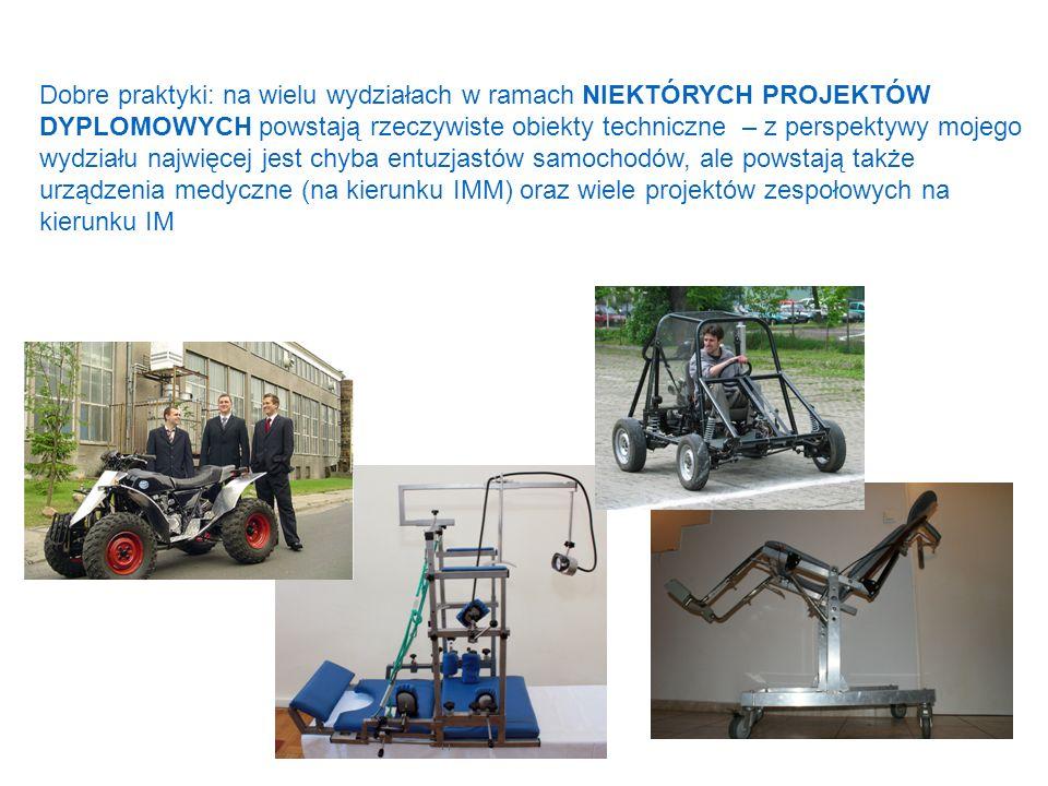 Dobre praktyki: na wielu wydziałach w ramach NIEKTÓRYCH PROJEKTÓW DYPLOMOWYCH powstają rzeczywiste obiekty techniczne – z perspektywy mojego wydziału najwięcej jest chyba entuzjastów samochodów, ale powstają także urządzenia medyczne (na kierunku IMM) oraz wiele projektów zespołowych na kierunku IM