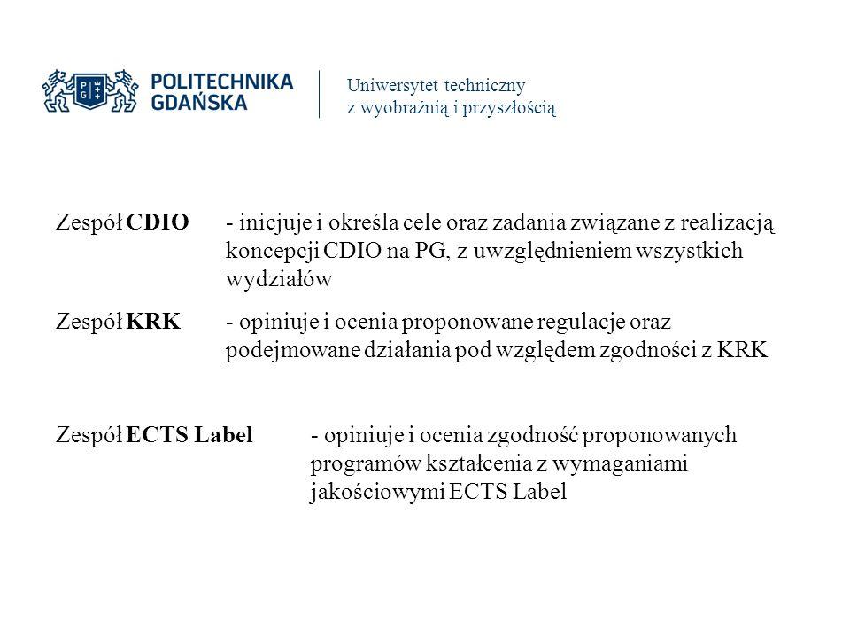 Uniwersytet techniczny z wyobraźnią i przyszłością Zespół CDIO- inicjuje i określa cele oraz zadania związane z realizacją koncepcji CDIO na PG, z uwzględnieniem wszystkich wydziałów Zespół KRK- opiniuje i ocenia proponowane regulacje oraz podejmowane działania pod względem zgodności z KRK Zespół ECTS Label- opiniuje i ocenia zgodność proponowanych programów kształcenia z wymaganiami jakościowymi ECTS Label