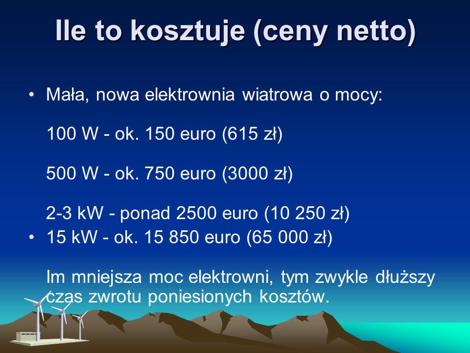 Ile uzyskamy prądu? Ile uzyskamy prądu? Dobrze dobrana i usytuowana elektrownia wiatrowa może wytworzyć rocznie taką ilość energii elektrycznej, jaka